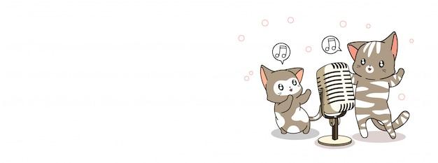 Schattige katten zingen