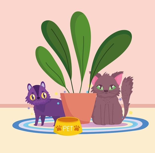 Schattige katten zitten met kom eten en potplant vectorillustratie