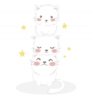 Schattige kattenfamilie