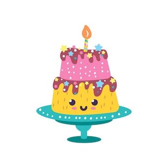 Schattige kauwgom karakter kawaii cake met een kaars