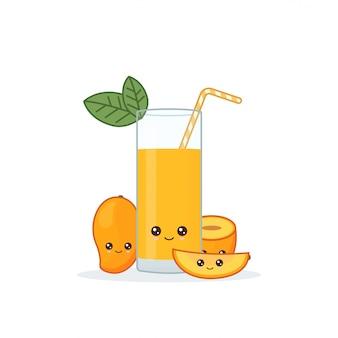 Schattige kawai glimlachend cartoon mangosap.