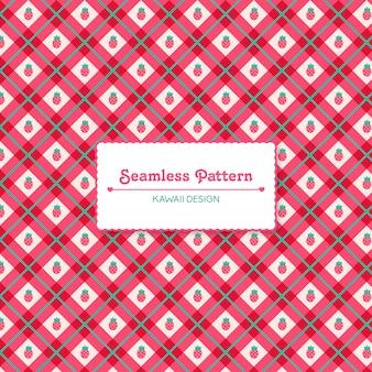Schattige kawaii aardbeien naadloze patroon