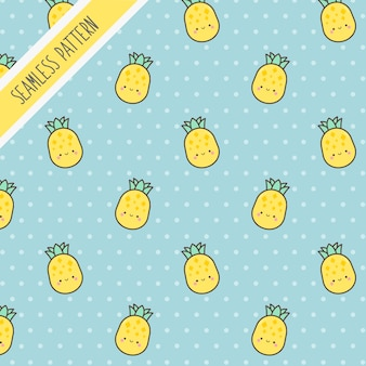 Schattige kawaii ananas naadloze patroon