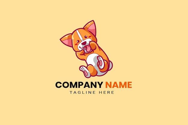 Schattige kawaii puppy hond mascotte cartoon logo ontwerp sjabloon pictogram illustratie hand getrokken