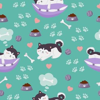 Schattige kawaii slapende siberische husky puppy's met hondenspeelgoed. naadloos patroon.