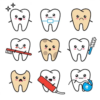 Schattige kawaii tand icon set. tanden met tandenborstel, beugel, tandpasta, verval, tandzijde