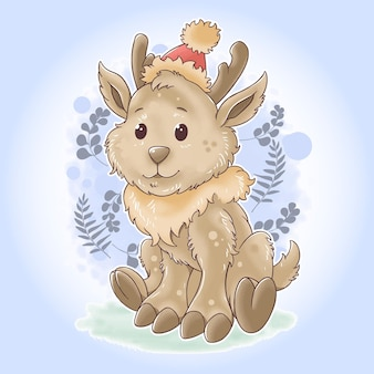 Schattige kerst antilope kerstman in aquarelstijl