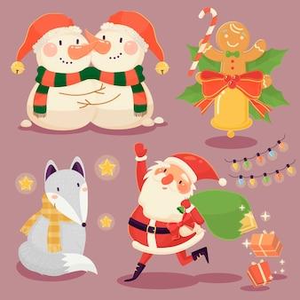Schattige kerst elementen collectie in platte ontwerpstijl