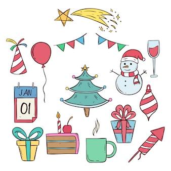 Schattige kerst en nieuwjaar pictogrammen met gekleurde doodle kunst