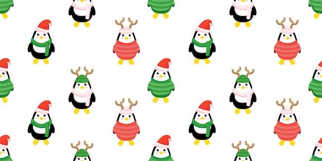 Schattige kerst pinguïn naadloze patroon set