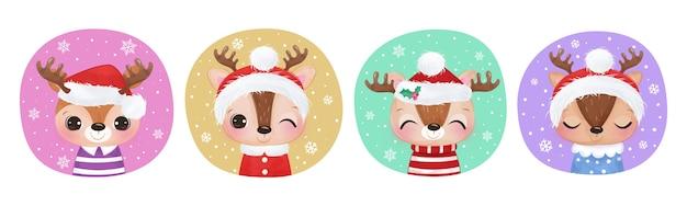 Schattige kerst rendieren collectie voor kerstversiering.
