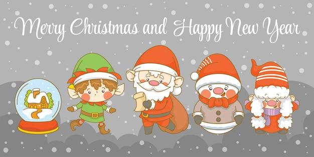 Schattige kerstkabouter elf en sneeuwpop met kerst en nieuwjaar groet banner