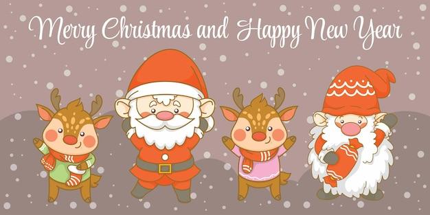 Schattige kerstkabouter en herten met kerst- en nieuwjaarsgroetbanner