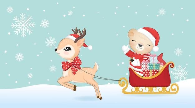 Schattige kerstman beer en herten met slee, kerstmis concept aquarel illustratie.