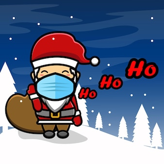 Schattige kerstman brengt cadeau met masker mascotte cartoon