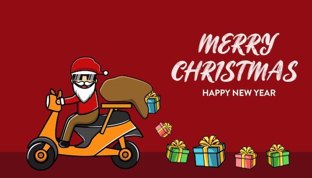 Schattige kerstman brengt geschenken cartoon achtergrond