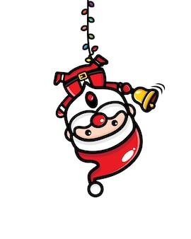 Schattige kerstman gevangen in een decoratielicht