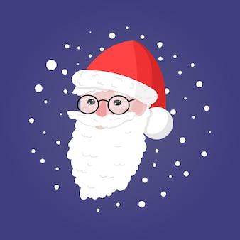 Schattige kerstman hoofd met sneeuwvlokken rond op blauwe achtergrond vector illustration