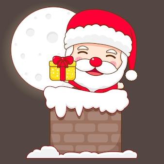 Schattige kerstman in schoorsteen met kerstcadeau chibi karakter illustratie