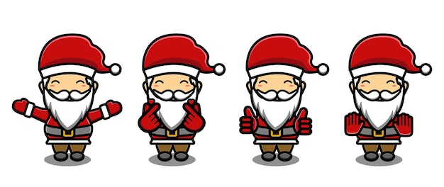 Schattige kerstman mascotte tekenfilm set