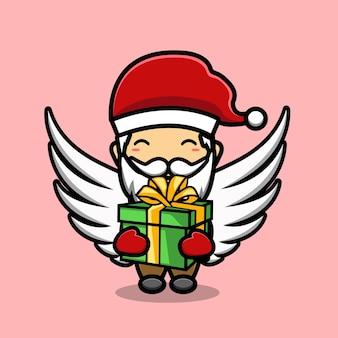 Schattige kerstman met vleugels cartoon