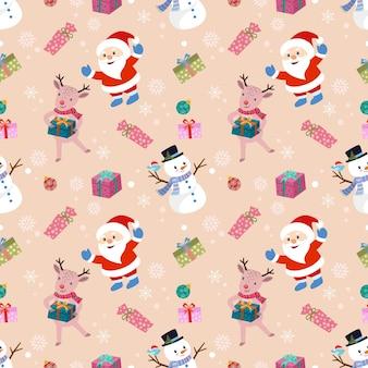 Schattige kerstman sneeuw man en herten met cadeau naadloze patroon.