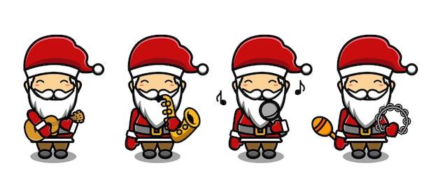 Schattige kerstman speelt muziek mascotte cartoon set