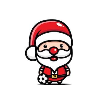 Schattige kerstman voetballen