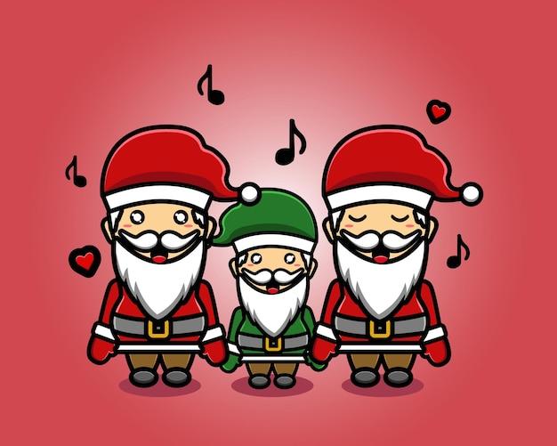 Schattige kerstman zingende mascotte cartoon