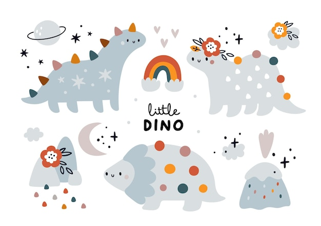 Schattige kinderachtige set met baby dieren dinosaurussen dino collectie regenboog natuurelementen