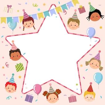 Schattige kinderen cartoon met stervormige rand voor uitnodiging of verjaardagsfeestje kaartsjabloon.