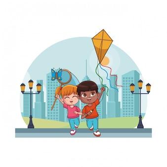 Schattige kinderen cartoon