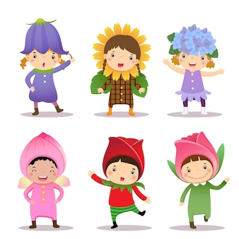 Schattige kinderen die bloemenkostuums dragen