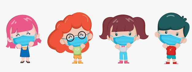 Schattige kinderen die een gezichtsmasker karakter dragen.