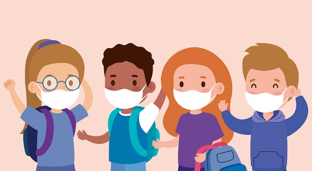 Schattige kinderen die een medisch masker dragen om coronaviruscovid 19 te voorkomen