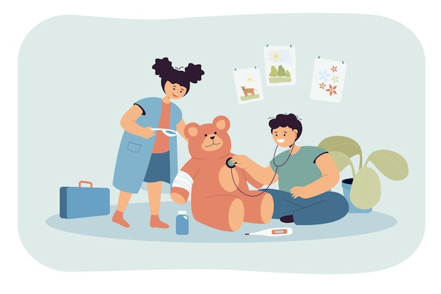 Schattige kinderen die samen dokter spelen