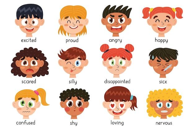 Schattige kinderen emoties gezichten collectie verschillende emotionele uitingen van kinderen