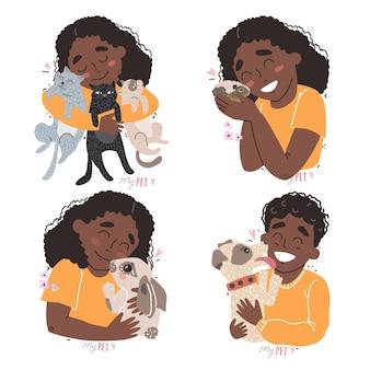 Schattige kinderen houden hun huisdieren in de armen