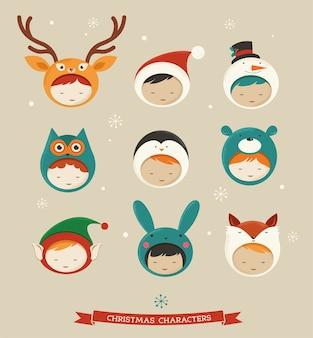 Schattige kinderen in dierlijke kerst kostuums illustratie