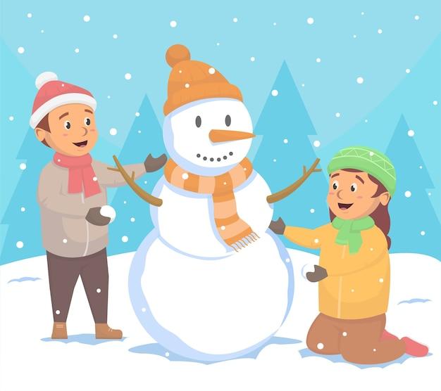 Schattige kinderen maakten sneeuwpop illustratie