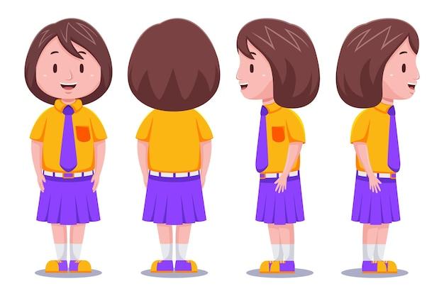 Schattige kinderen meisje student karakter in verschillende poses.