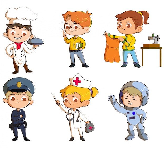 Schattige kinderen met de hobby en ambitie