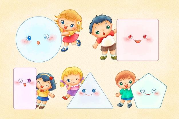 Schattige kinderen met verschillende geometrische vormen in lijntekeningen
