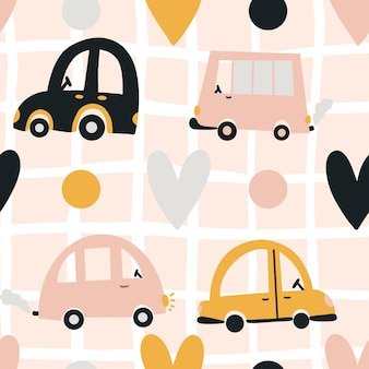 Schattige kinderen patroon auto's hart stippen mesh achtergrond vector naadloze achtergrond