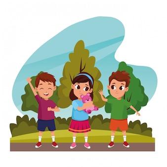 Schattige kinderen spelen in de natuur cartoons