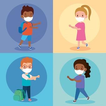 Schattige kinderen studenten dragen medisch masker om coronavirus covid 19 te voorkomen