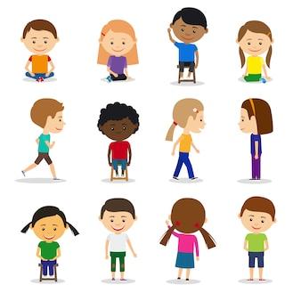 Schattige kinderen tekens in verschillende positie vector set