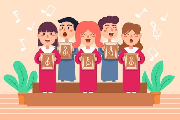 Schattige kinderen zingen in een geïllustreerd koor
