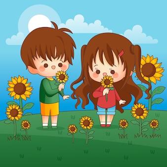 Schattige kinderen zonnebloem ruiken buitenshuis