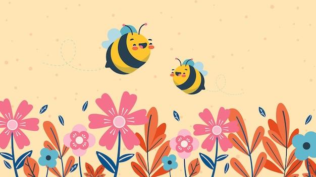 Schattige kinderlijke desktop wallpaper voor bijen